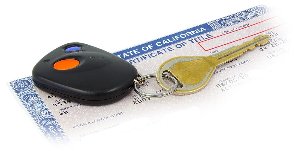 car key on top of California certificate of title