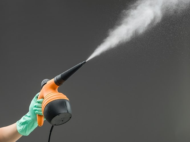steam cleaning in progress