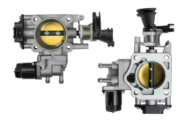 auto throttle body in white background
