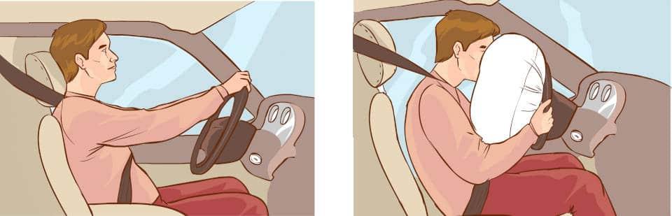 car crash and airbag deployment