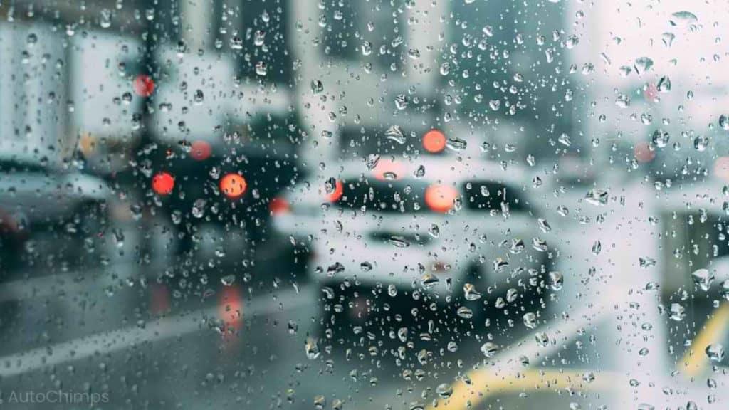 car driving through rain