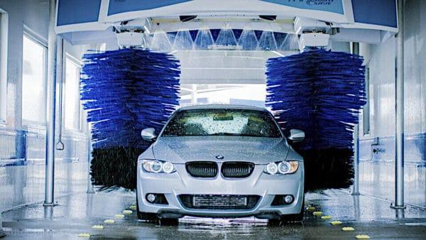 freshly washed car at upscale car wash facility