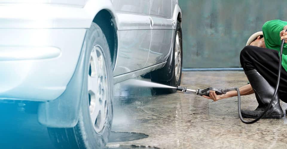 spraying or washing car undercarriage