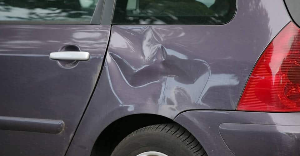 car with dented side